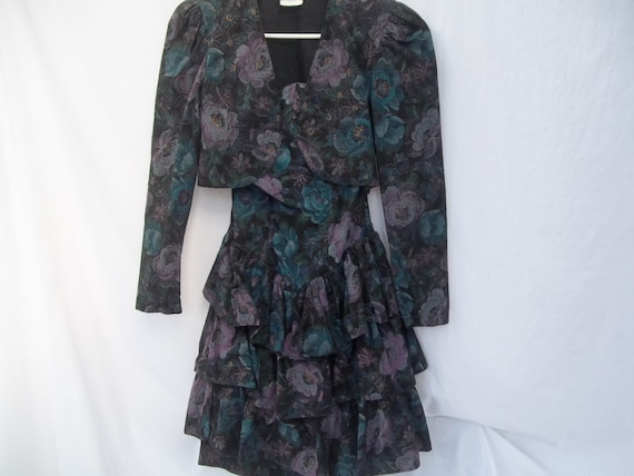 Dress Strapless Tiered with Bolero Jacket Byer Too Black Mauve flowered Spanish look Gorgeous Beautiful