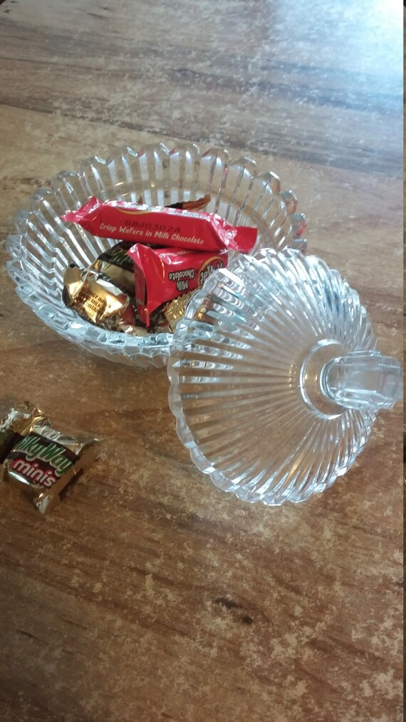 Crystal Candy Dish Small with Lid With Handle Beautiful Clear 1980s