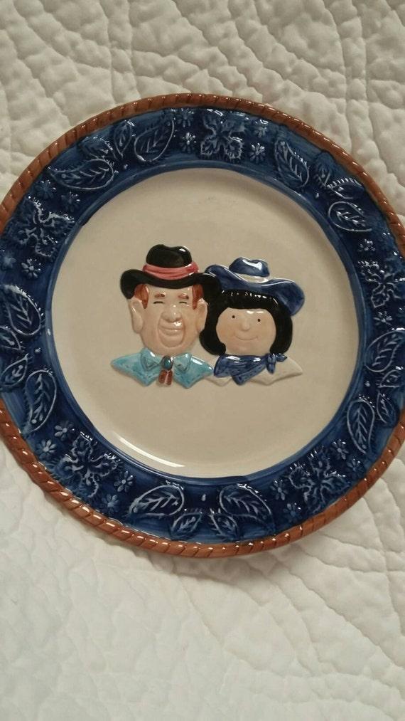 1992 Decorative plate cobalt blue and Tan Cowboy Farmer