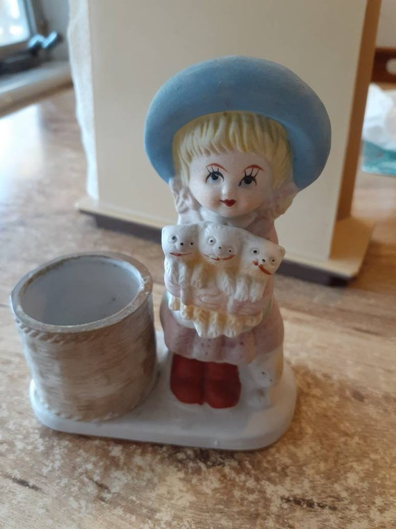 CANDLE HOLDER Jasco Hand Painted Porcelain Cute Girl holding kittens