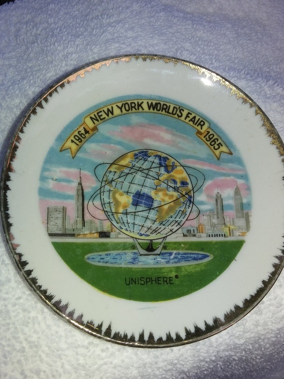 New York World's Fair Gold Rimmed Plate 1965 Collector Item