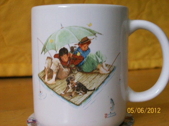 Fishing Mug Norman Rockwell Fisherman's Paradise Mug 1987 Collector's Item