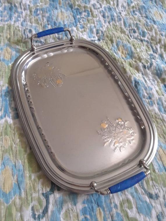 Inox Serving Tray 24k gold inlay