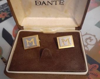 Gold cufflinks Initial M Dante