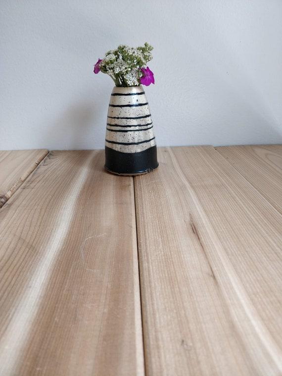 Striped Table Vase Black And White Striped Stripes Etsy