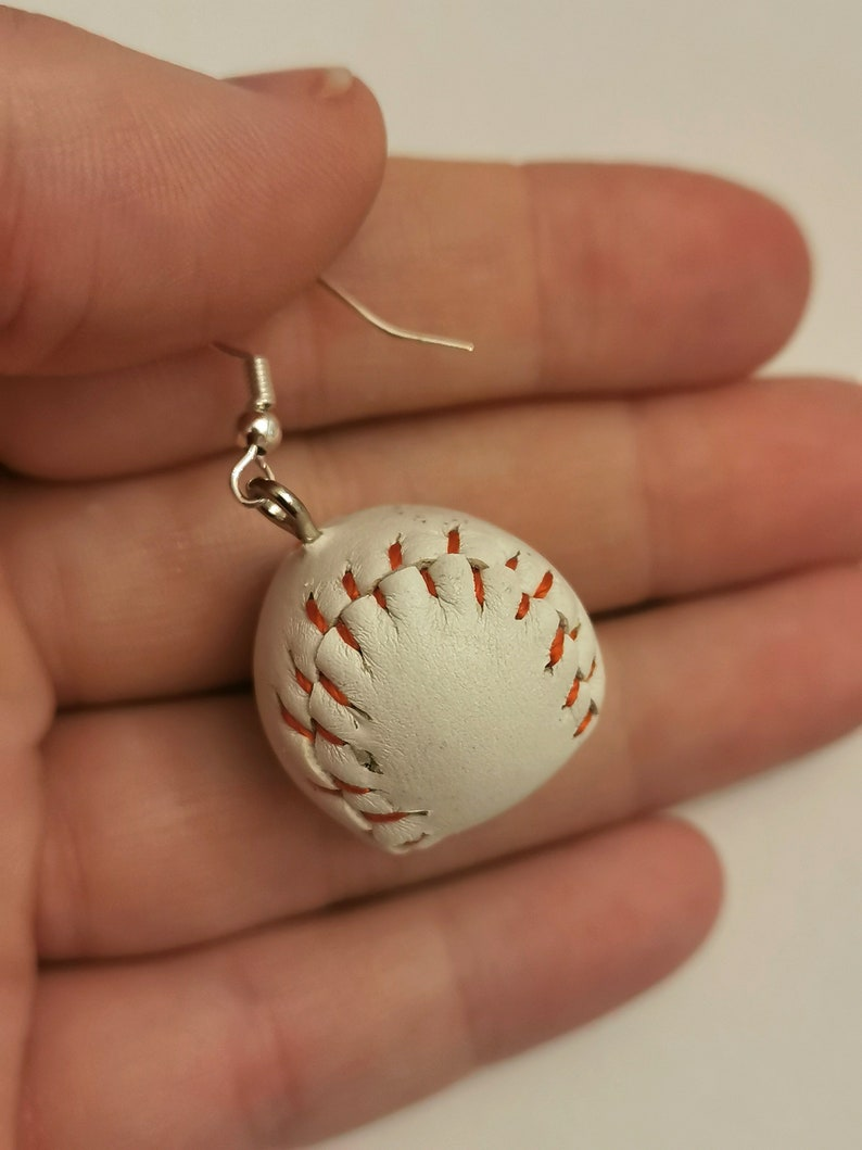 Rustic cute miniature baseball and wooden bat sporty silver plated earrings