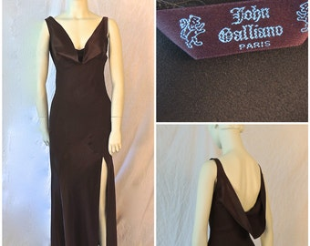 41345e62fc34 John Galliano 1990s Slip Dress/Couture Satin Crepe 90s Evening Dress/ Galliano Bias Cut/Chocolate Brown/High Side Slit/1990s