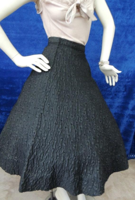 Brocade Full Circle Skirt/ Vintage 1950s/ Black sk