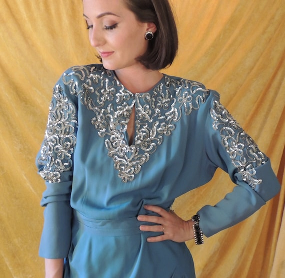 30s Crepe Dress with Silver Sequins/Art Deco Blue