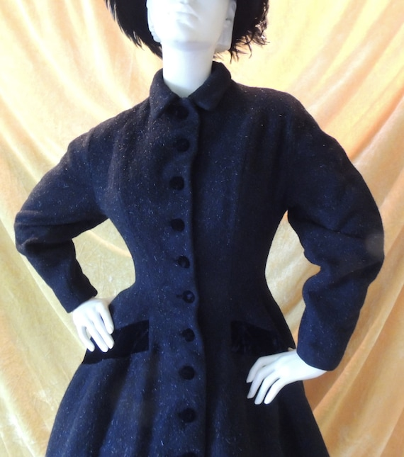 Lilli Ann Black Princess Velvet Wool Coat/EXCELLEN