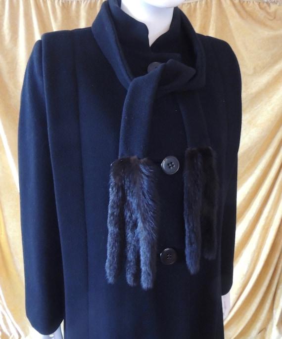 Pauline Trigere Coat/Long 80s Midi Black Wool Coa… - image 5