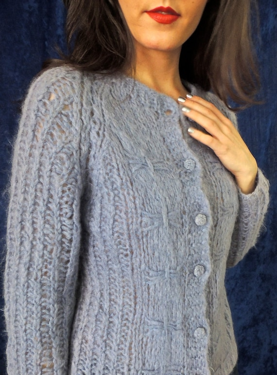 Periwinkle Cable Knit with Ribbon Design Mohair Ca