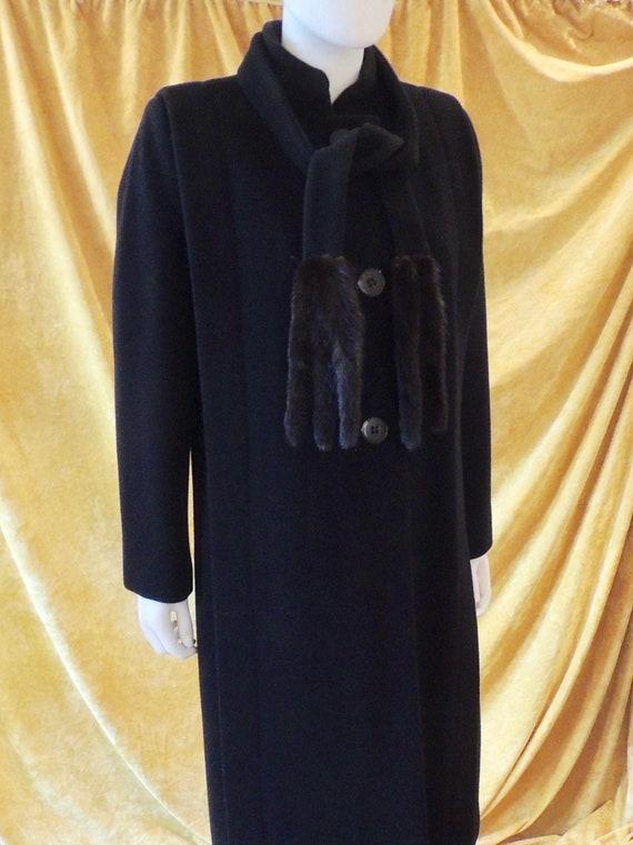 Pauline Trigere Coat/Long 80s Midi Black Wool Coa… - image 2