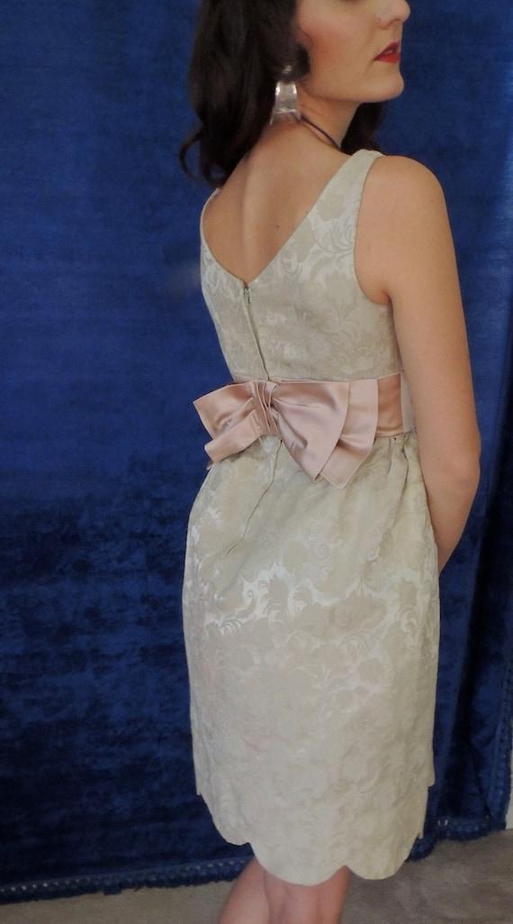 60s Brocade Mini Prom Dress/Vintage/Tulle,Satin/Pe