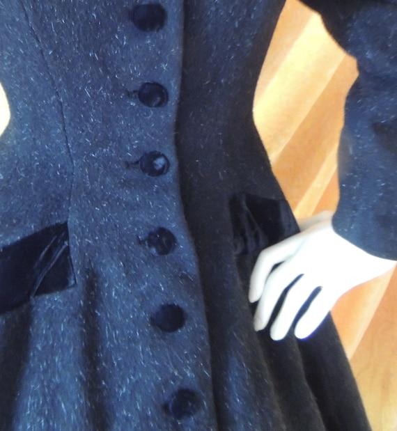 Lilli Ann Black Princess Velvet Wool Coat/EXCELLE… - image 2