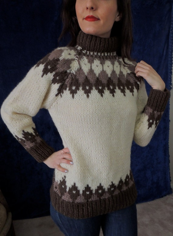Sweater gray Wool sweater Hand-knitted sweater Tweed jumper Women knitted sweater Unisex pullover Icelandic Lopapeys sweater Winter sweater
