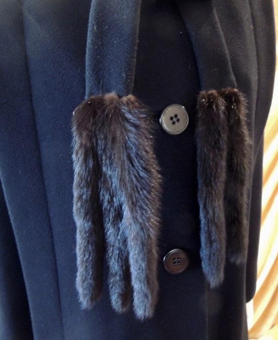 Pauline Trigere Coat/Long 80s Midi Black Wool Coa… - image 3