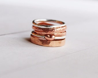 Layers of Love Stacking Ring, Silver and Copper Statement Ring, Heirloom Jewelry, Wearable Art SPRF054