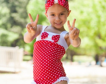 Girls Swimsuit - One Piece Swimsuit - Red Swimsuit - Bathing Suit - Toddler Swimsuit - Polka Dot Swimsuit - White Swimsuit - Baby Swimsuit