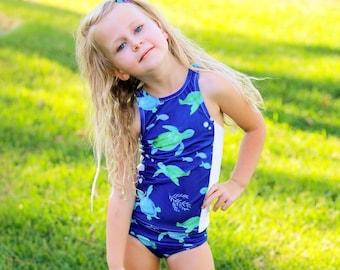 Tankini Swimsuit - Girls Swimsuit - Under the Sea Party - Two Piece Swimsuit - Racerback Swimsuit - Blue Swimsuit - Green Swimsuit - Swim