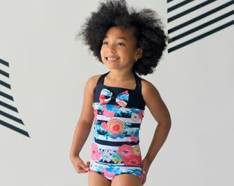 Girls Swimsuit - One Piece Swimsuit - Floral Swimsuit - Swimwear