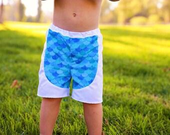 Boys Swim Shorts - Boys Swimsuit - Toddler Swimsuit - Mermaid Swimsuit - Boys Swimwear - Kids Bathing Suit - Swim Shorts - Merman Swimsuit
