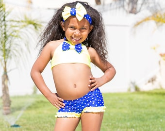 Polka Dot Bikini - Girls Bikini Swimsuit - Bathing Suit - Two Piece Swimsuit - Toddler Swimsuit - Blue Swimsuit - Yellow Swimsuit - Swimsuit