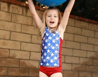 Girls Tankini Swimsuit - 4th of July Swimsuit - Girls Swimsuit - Racerback Swimsuit - Two Piece Swimsuit - 4th of July Outfit