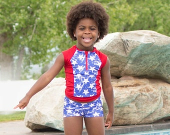 Girls Swimsuit - 4th of July Outfit - 4th of July Swimsuit - Rash Guard - Red White and Blue Outfit - Girls Bathing Suit - Girls Swimwear