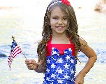 4th of July Swimsuit - One Piece Swimsuit - Girls Bathing Suit - Dance Costume - Patriotic Outfit - Toddler Swimuit - Red Swimsuit - Swim