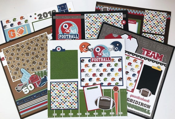 sale 12x12 football scrapbook page kit or premade pre cut with etsy