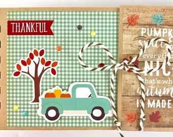 Premade Fall Scrapbook Mini Album Autumn Leaves Thankful Grateful OOAK