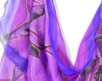 Hand painted silk scarf/Hand painted violet flowers/Painting silk chiffon scarf/Purple chiffon silk scarf/Woman luxury gift/Luxury giftS0021