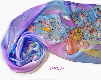 Hand painted silk scarf/Orange orhids/Painting silk scarf/Floral silk scarf/Woman silk scarf/Blue silk scarf/woman blue Scarf/made /S0163
