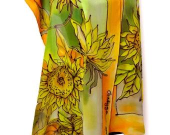 Hand painting silk shawl/Painting silk scarf/Exotic sunflowers/Soft silk shawl/Hand painted silk/Painted by hand exoticshawl/ by hand/S0085