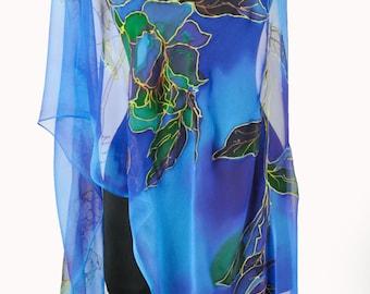 Hand painted silk Scarf/Painting silk/Blue floral silk chiffon scarf/Woman scarf/Luxury gift/Painted Silk flowers/Long scarf/Gabyga/S0007