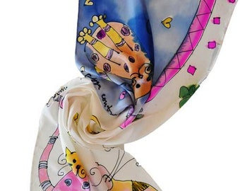 Hand painted silk scarf Pink Yellow Kittens Blue Hand Painted Silk Women silk scarf Woman accessorie Woman scarf Painted silk scarf /S0174