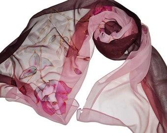 Dark flowers/Hand Painted silk scarf/Silk chiffon scarf/Woman silk scarf/Painting on silk/Woman accessory/Roses/Painting flowers/S0037