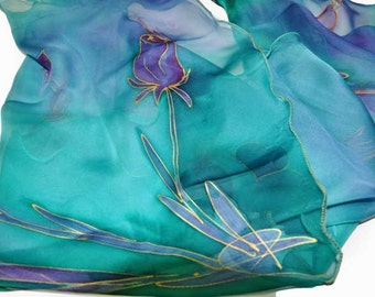 Blue flowers/Hand painted 100% silk scarf/Handpainted Scarf/Blue silk scarf/Woman silk scarf/Painted blue Art silk scarf/Gift made /S0202