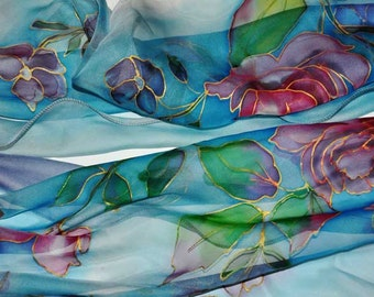 Hand painted silk scarf/Red roses in blue/Painted silk scarf/Blue silk scarf/Woman long silk scarf/Silk chiffon/Painted by hand Roses/S0135