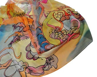 Hand Painted Silk Scarf/Dragon/Painted silk scarf/Woman Accessory/Hand painted Scarf/Dragon in Beige/Painted by hand/Woman luxyry scarfS0055