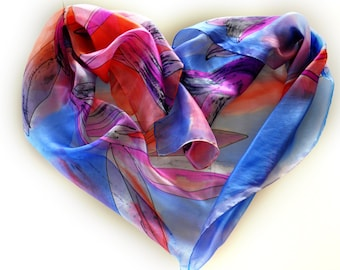 hand Painted silk scarf/Woman silk scarf/Blue tulips/Luxury Silk Accessory/Painting Blue Flowers/Blue silk flowers/Painting soft silk scarf