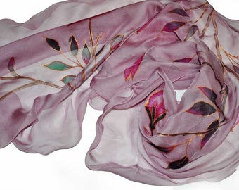 Hand painted silk scarf/ Painting silk chiffon/Painting roses/Luxury gift for woman/Beautiful accessory/Silk hand painted gift/gabyga/S0016