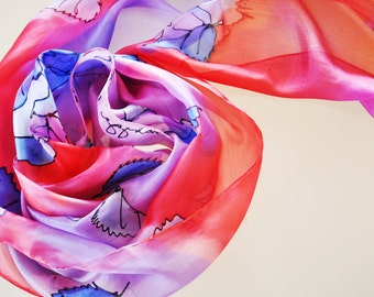 Hand painted silk scarf/Blue roses/Painted by hand silk/Woman accessory/Woman long scarf/Hand painted roses woman silk scarfWoman Accessory