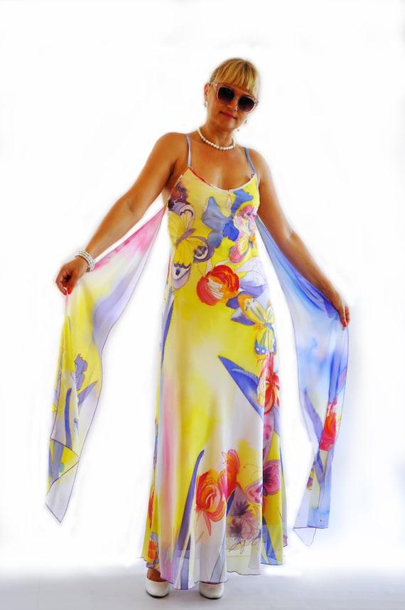 Yellow Flowershand Painted Dresschiffon Long Dressprom Etsy