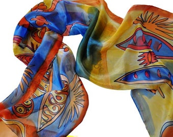 Hand Painted Silk Scarf/Abstract Silk Scarf/Woman Accessory/Painted Silk Scarf/Woman Scarf/Handpainted shawl/Abstract scarf/Woman gift/S0301