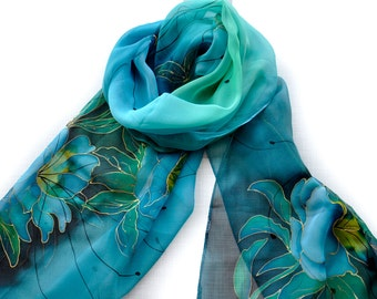 New collection/Hand painted silk scarf/Exotic flowers/Rose flowers in blue/Long scarf/Blue aqua silk chiffon scarf/Painting by hand/S0207