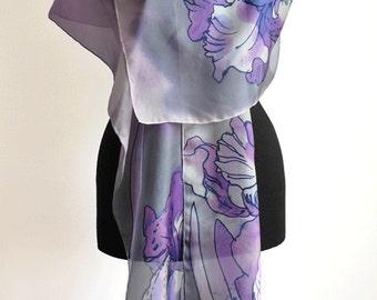 Purple flowers/Hand Painted silk scarf/Woman silk accessory/Painted silk scarf/Woman scarf/Gift for woman/Orchids/Purple silk scarf/Gabyga
