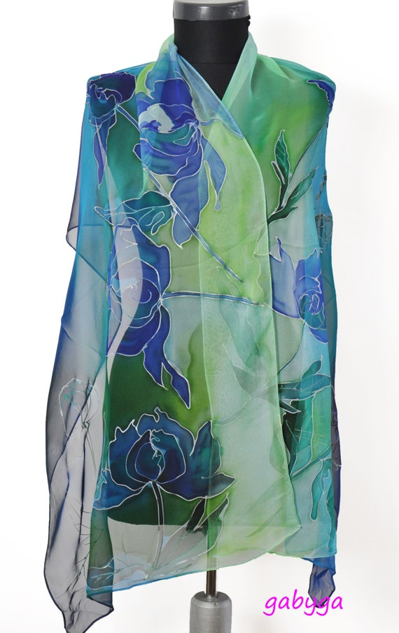 Blue Hand Painted Silk Scarf Paintng Silk Scarfhand Painted Etsy