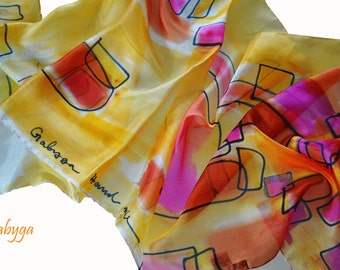 Hand painted scarf Absrtact painted silk scarf Woman silk scarf Painted silk scarf Abstract painting Hand painted silk painted by Gabyga